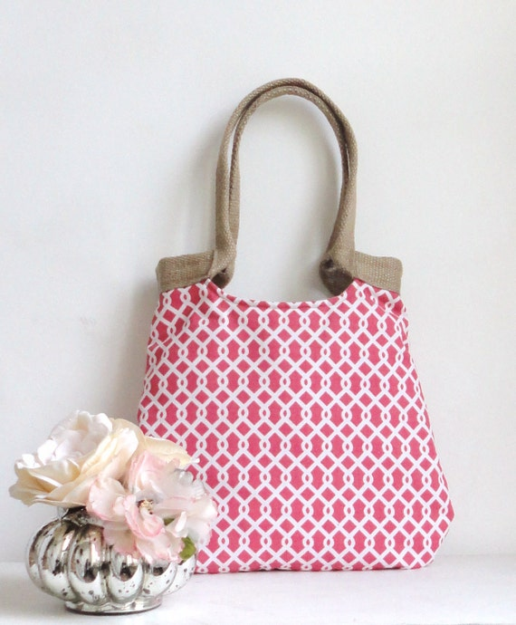 Coral geometric tote bag with burlap SUMMER FASHION