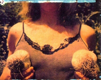 Garden of breasts with garlic/ photo postcard