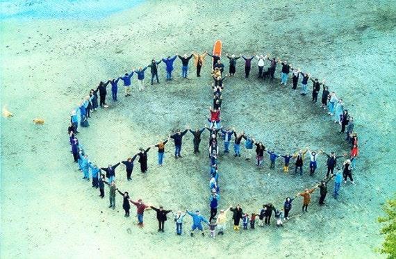 Human peace sign on the beach- photo art magnet