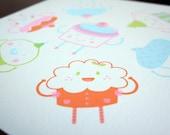 Cupcake Flavors / 4 color silkscreen