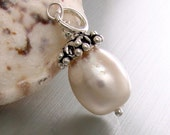 Pendant - White potato shape large pearl with Bali cap and sterling silver