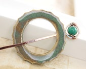 Shawl pin or scarf pin with handmade ceramic teal with taupe penannular shape with turquoise stone beaded pin stick