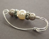 Sterling silver shawl pin, scarf pin with Swarovski white and mocha cream pearls with rhinestones spacers