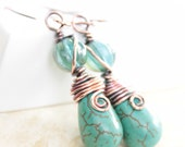 Artisan copper earrings with swirly turquoise drop and wrapped turquoise melon Czech glass beads