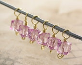 Knitting stitch markers set of 6 markers - pale pink acrylic cube faceted beads  - choose your color