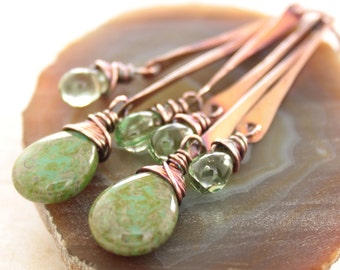 Long sticks chandelier copper earrings with teal and green Czech Picasso finish glass teardrops dangles