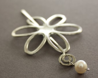 Silver flower shawl pin or scarf pin with white pearl dangle on a pin stick