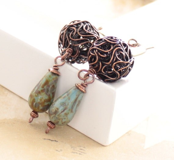 Wired ball copper earrings with a moss green drop glass beads