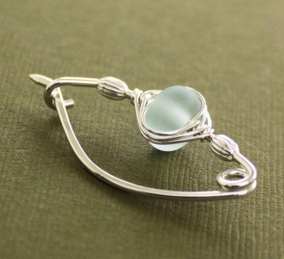 Sterling silver shawl pin or brooch with frosted aqua blue mini lampwork glass bead herringbone wrapped