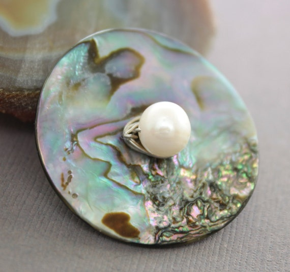 Peacock colors abalone shell button brooch with white fresh water pearl