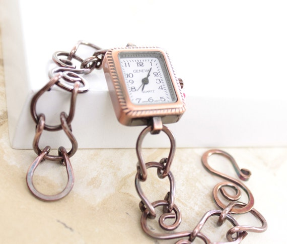 Artisan copper watch with bracelet - Geneva quartz watch
