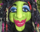 Cecelia, Needle felted Wool Witch,to stand or for wall
