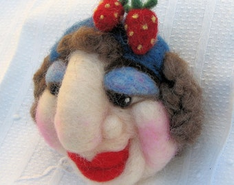 Frumpy Fran, Needle Felted Face, Pin Cushion, Home Decor