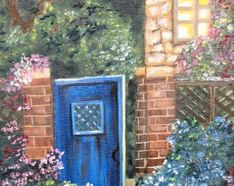SALE!!!!The Blue Gate, English Country House, and Garden Oil Painting On Canvas, large