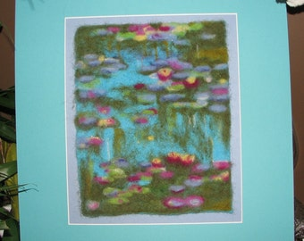 After Monet's Waterlilies, Needle Felted Wool Picture