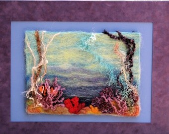 Under The Sea Needle Felted Painting With Clown Fish and Coral