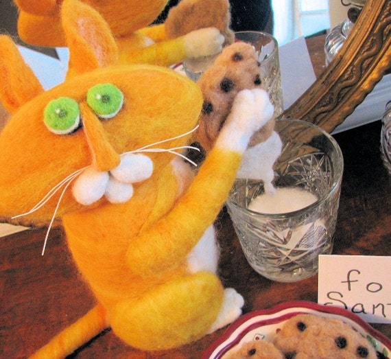 Needle felted Cat, Eats Santa's Cookies, and Milk