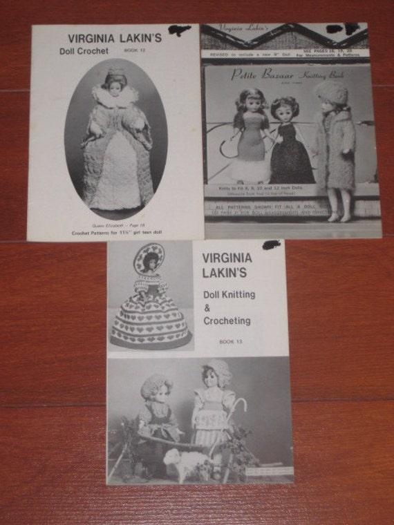 3 Virgina Lakin doll crocheting and knitting booklets