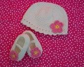 Crochet Flower Hat and Flower Maryjane Shoes