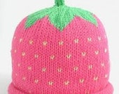 Knitted Strawberry Baby Beanie