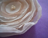Chiffon flower:  Ivory and beige fabric flower brooch pin or hair clip
