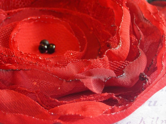 Chiffon fabric flower:  Red fabric flower brooch pin or hair clip