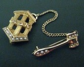 VINTAGE 10K GOLD ALPHA DELTA KAPPA LAPEL PIN WITH SEED PEARLS