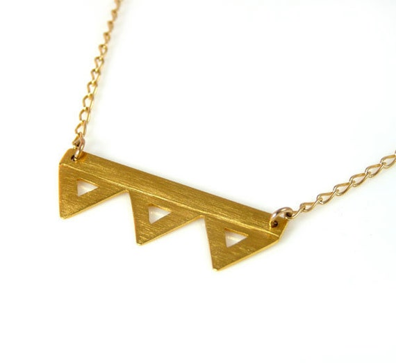 Tribal Triangle Necklace- 14K gold, geometric, triangle bar necklace