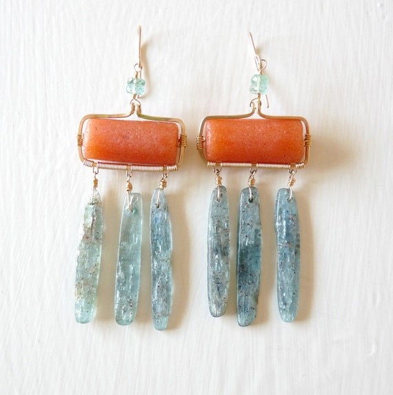Exotic Earrings, green kyanite, orange stone, gold, tribal, chandelier, boho chic, ancient, rustic