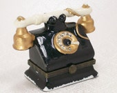 Vintage Figural Trinket Jewelry Box Old Fashioned Telephone Black Gold Collectible Porcelain Phone