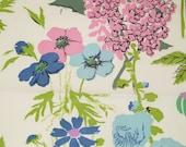 Vintage Decorator Designer Fabric Sample June Blue Olive