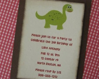 Personalized custom dinosaur party invitations set of 8