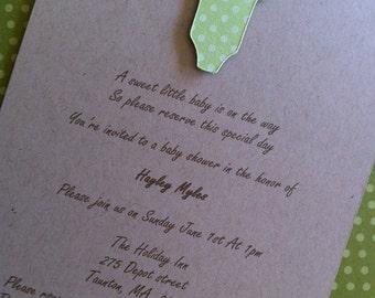Polka Dot green Onesie  Baby Shower Invitations on kraft card stock