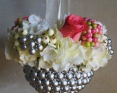 The Summer Silver Pearl Kissing Ball Basket - for kayla