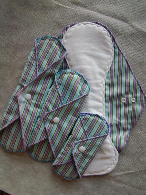Cloth Pads Starter set- Purple/Aqua Stripes