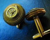 THE BRAWLER Working Clockwork Brass Cufflinks
