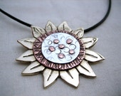 Mixed Metal Sunflower Pendant Necklace