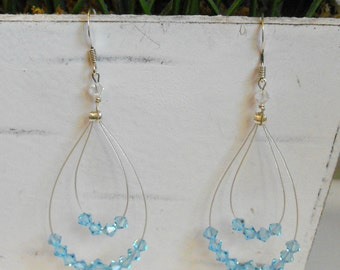 Blue Swarovski Crystal Hoop Earrings-Chandelier