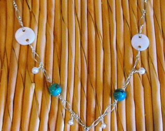 Mother of Pearl, Turquoise and Fresh Water Pearl Necklace