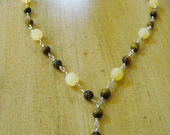 Lemon Jade and Tiger Eye Necklace