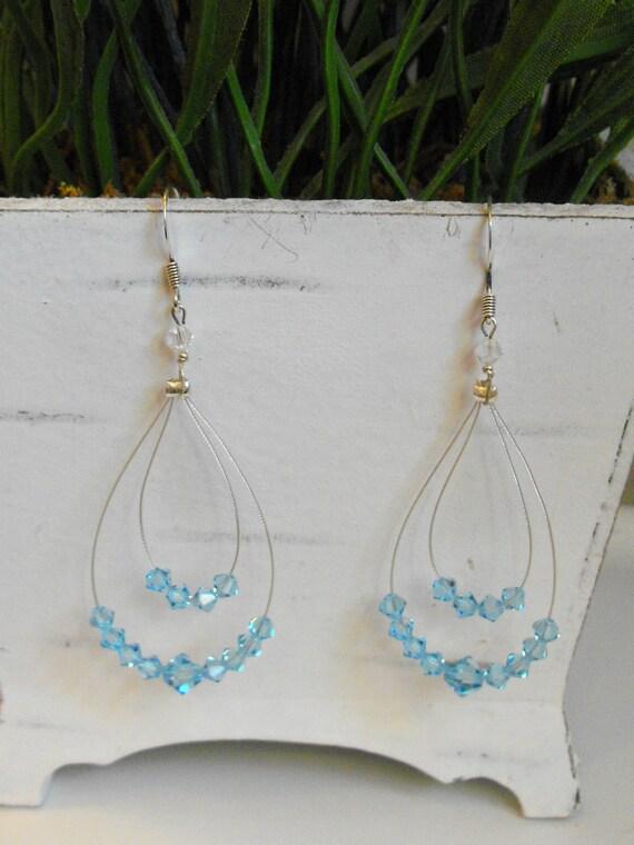 Blue Swarovski Crystal Hoop Earrings-Chandelier