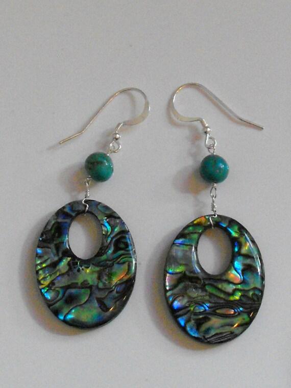 Abalone and Turquoise Earrings-Paua Shell
