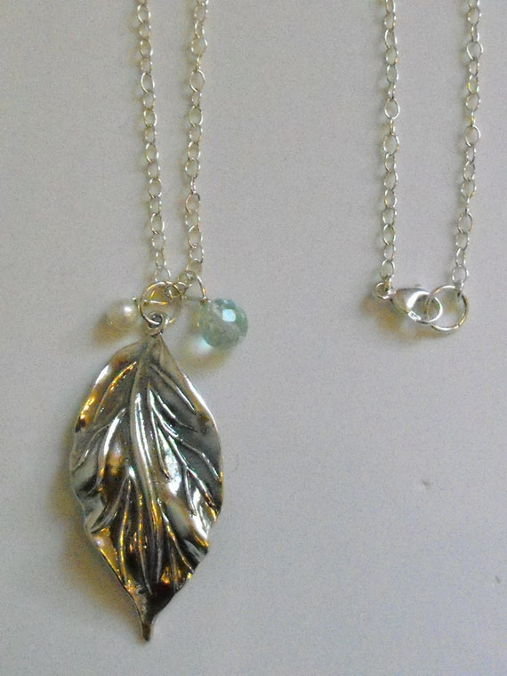 Long Sterling Silver Necklace with Sterling Silver Leaf Pendant and Charms of Aquamarine and Pearl