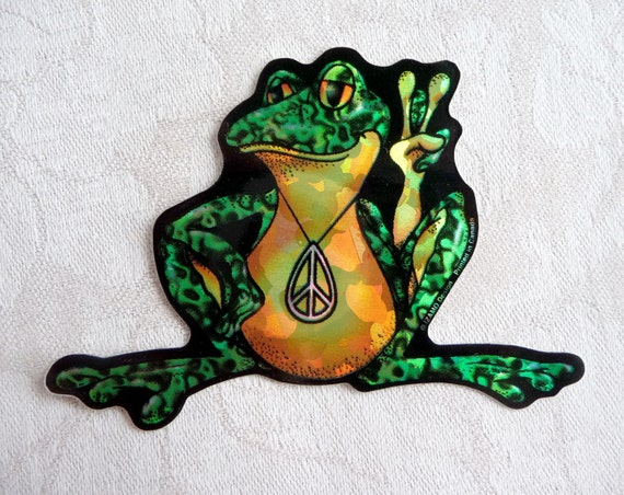 Groovy rare Canadian made psychedelic hologram hippy large peace sign frog