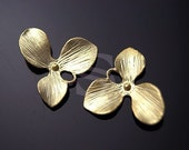 B-146-MG / 4 Pcs - 'Orchid Flower' Ver.1, Matte Finished 16K Gold Plating over Brass / 17mm x 18mm