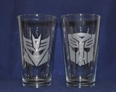 Etched Transformer Pint Glasses - Autobot and Decepticon by Jackglass on Etsy