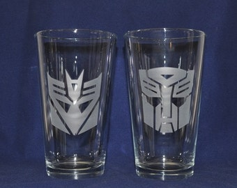 Retro SciFi Pint Glasses Etched - Autobot and Decepticon, 1980's, Optimus Prime, Megatron, by Jackglass on Etsy