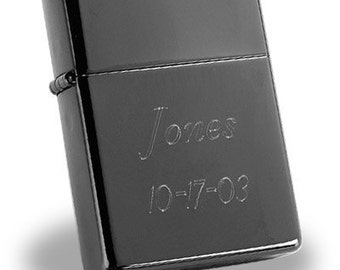 Engraved Personalized Old School Black Ice Zippo Lighter by Jackglass