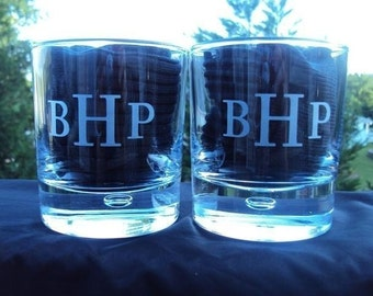 Etched Pair Personalized Straight Sided Rocks Glass Traditional Monogram font etched  by Jackglass on Etsy