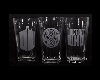 DR WHO Pint Glass Set Etched with Sandblaster for the Dr Who Fan, Sci-fi Fun, Unique Gift by Jackglass on Etsy
